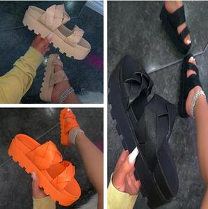 casual all-match slippers ms Autumn 2020 new women twist straps double-layer platform waterproof platform outdoor beach sandals
