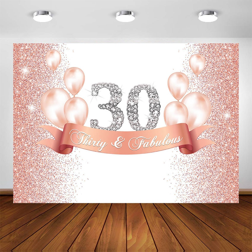 Pink Gold Gliiter 30 40 50 60 Birthday Backdrop Women Adult Happy Birthday Party Banner Balloons Decor Photo Booth Background