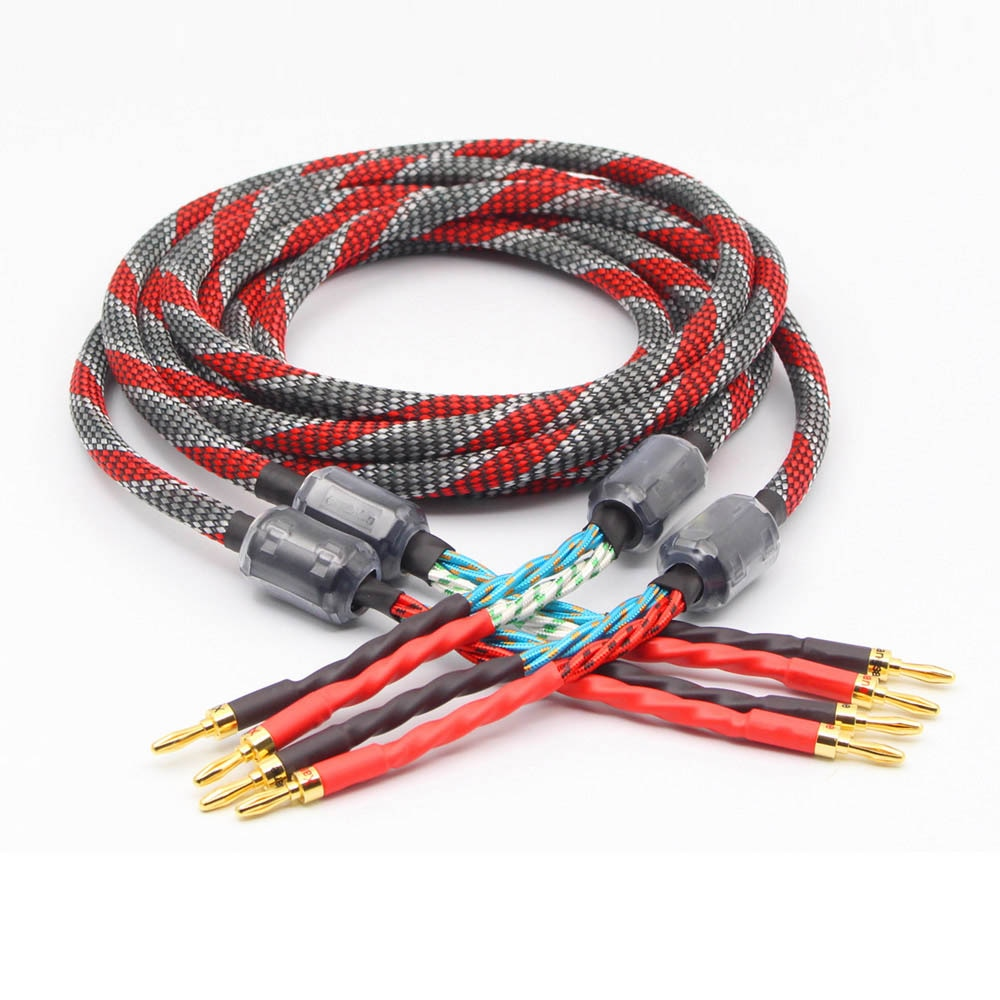 Pair Hi-End oxygen-free copper audio speaker cable HI-FI high-end amplifier speaker cable Banana plug