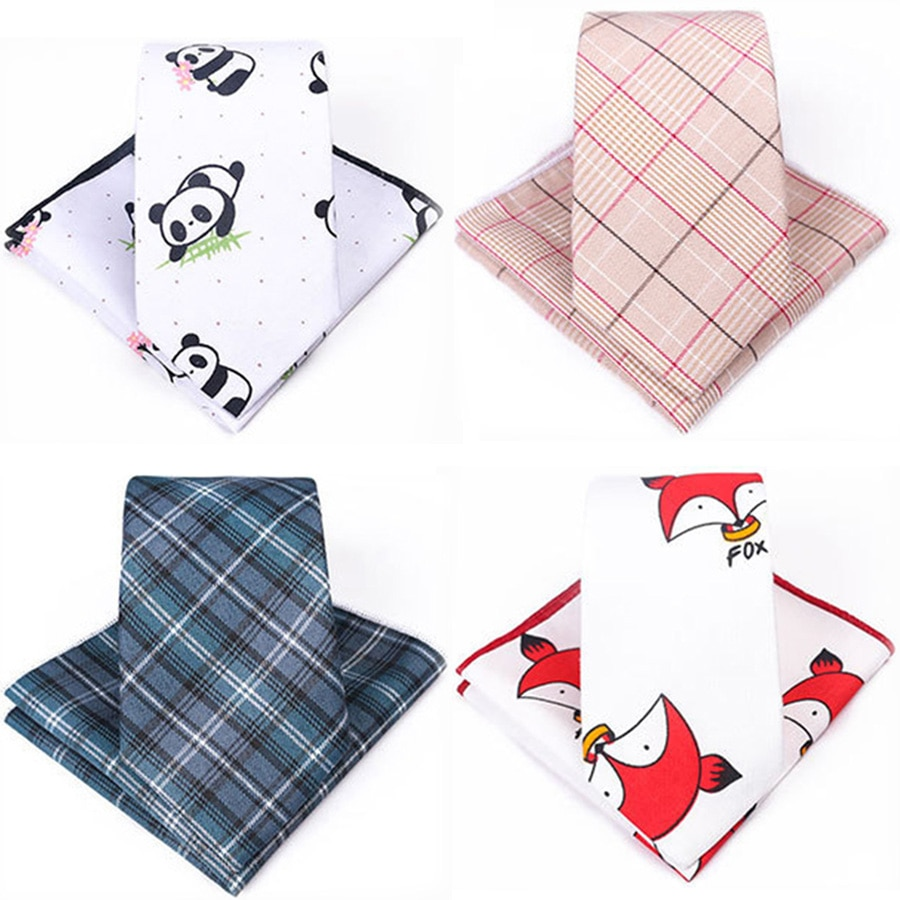 GUSLESON Slim 7cm Cotton Cartoon Plaid Tie Set For Men Neck Tie and Handkerchief Set for Wedding Business Party Formal Gift