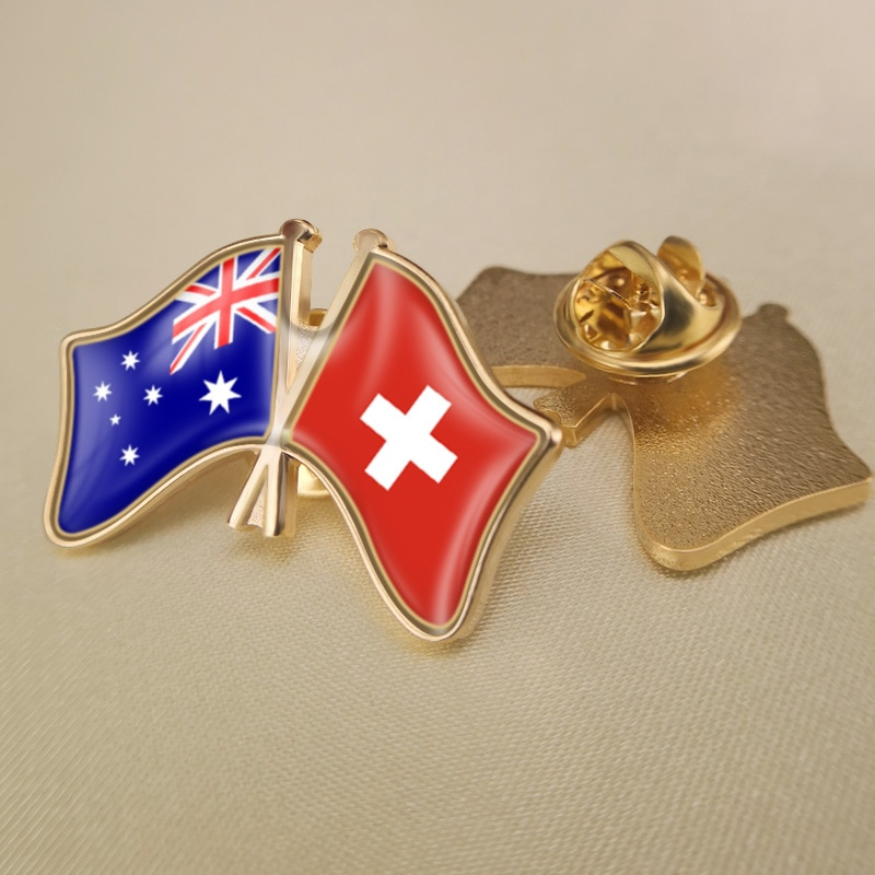 Australia y Suiza cruzadas/dobles/banderas de la Amistad prendedores de solapa/broche/insignias