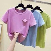 2021 korean summer women t shirt imitate pokets tops short sleeve solid top tee shirt femme o neck casual street tees