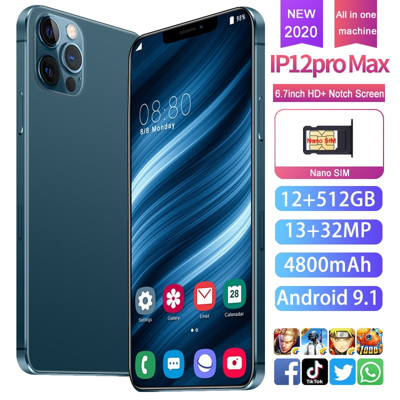 I12 Pro Max Rear Triple Camera 32MP Selfie Smartphone Snapdragon 865 12GB+512GB 6.7 Inch 4800mAh Android 9.1 Mobile Phone 5G LTE