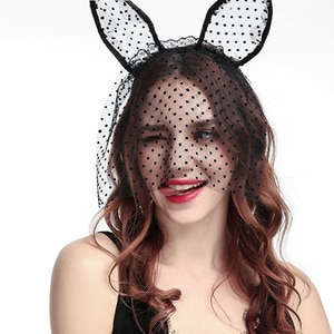 Black Sexy Lace Cute Rabbit Bunny Ears Headband Hollow Masquerade Mask Halloween Costume Party Eye Veil Mask Hair Accessories