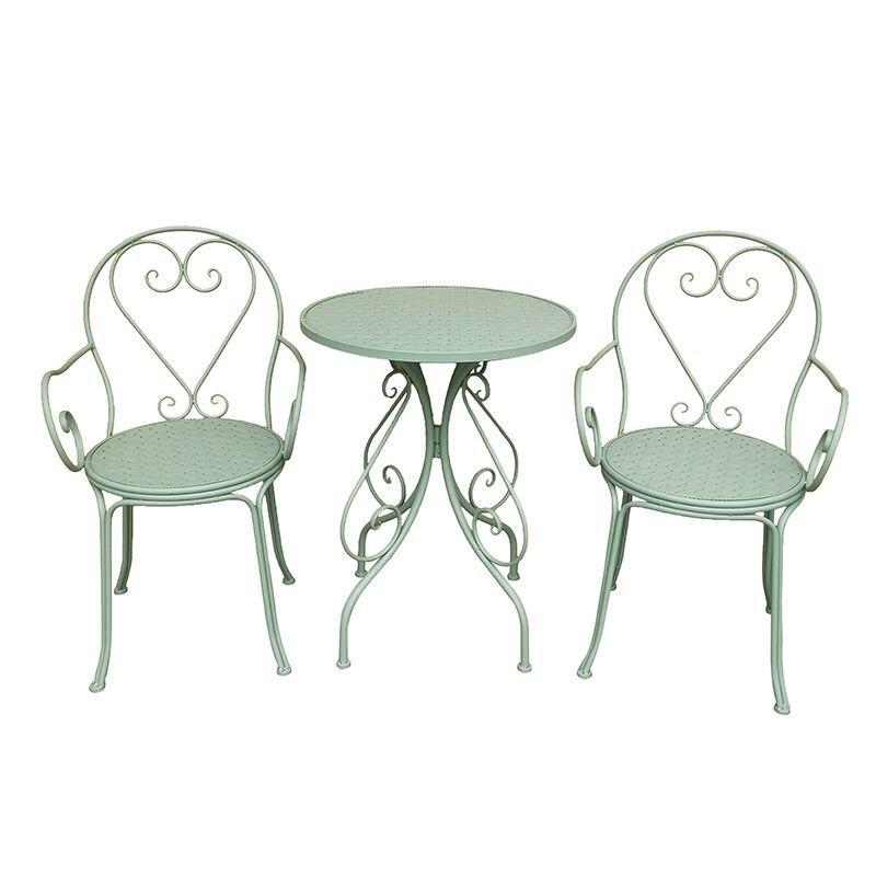 طاولة شاي ريفية صغيرة في الهواء الطلق ، بسيطة ، حديدية ، للشرفة ، كرسي خلفي للترفيه ، حديثة ، مضادة للصدأ ، مستديرة ، أثاث للفناء