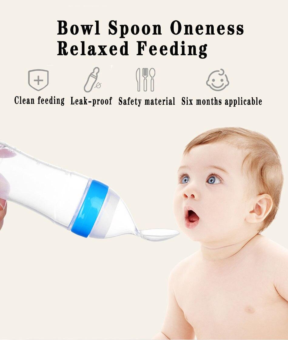 Bouteille de lait en Silicone sécurité bébé   Bouteille à presser, cuillère pour enfant en bas âge, complément alimentaire, bouteille riz céréales pâte dentraînement alimentation outils de table