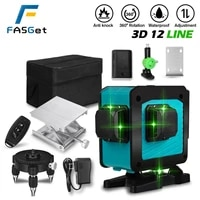 fasget 3d 12 lines laser level self leveling wireless remote 360 horizontal vertical cross lines with battery wall bracket laser