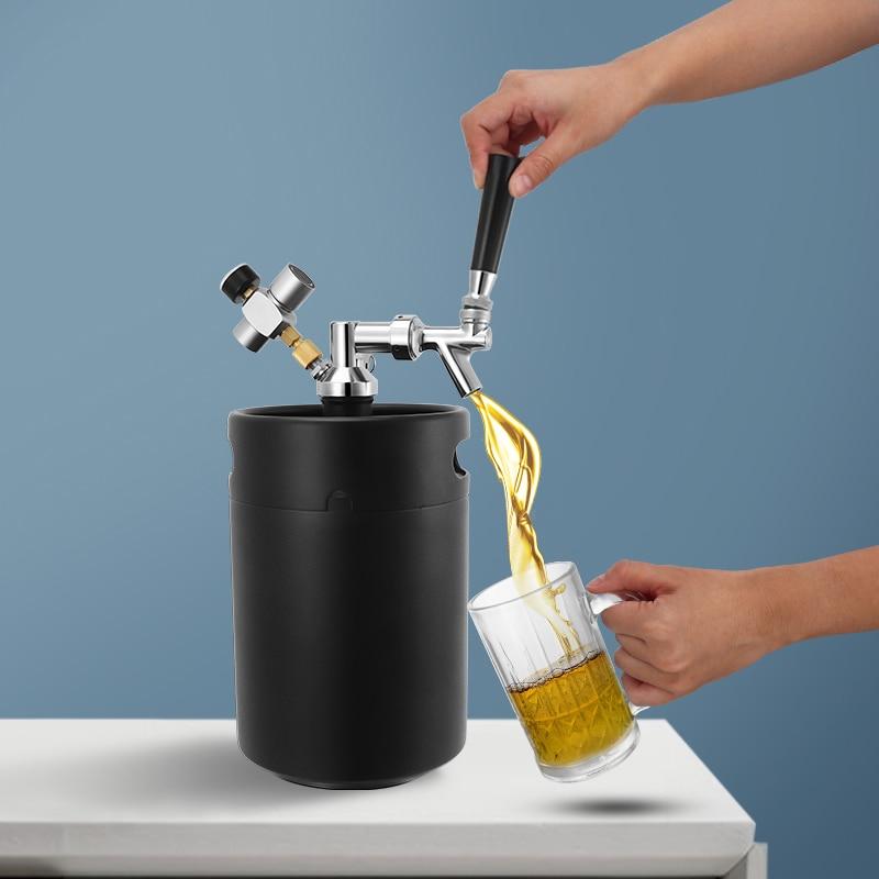 5l برميل البيرة الخشبي برميل صغير الحنفية موزع ، ماتي الأسود الهادر برميل الكربون Co2 شاحن تختمر سهلة التخزين معدات صنع زجاجة البيرة