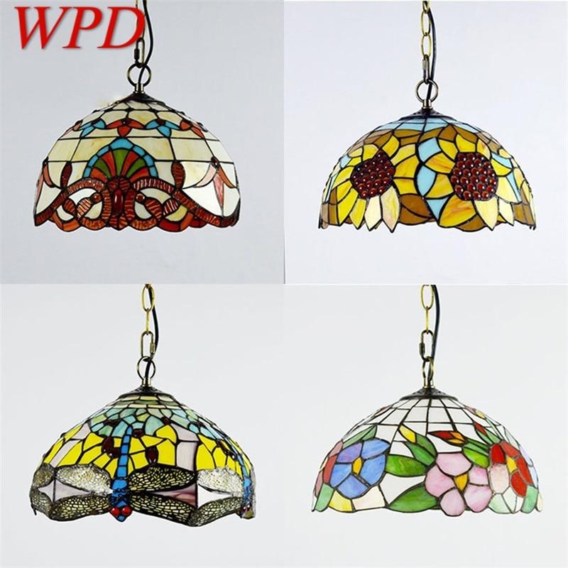 WPD تيفاني نجفة مزودة بإضاءات ليد مصباح تركيبات الإبداعية الحديثة للمنزل غرفة الطعام الديكور