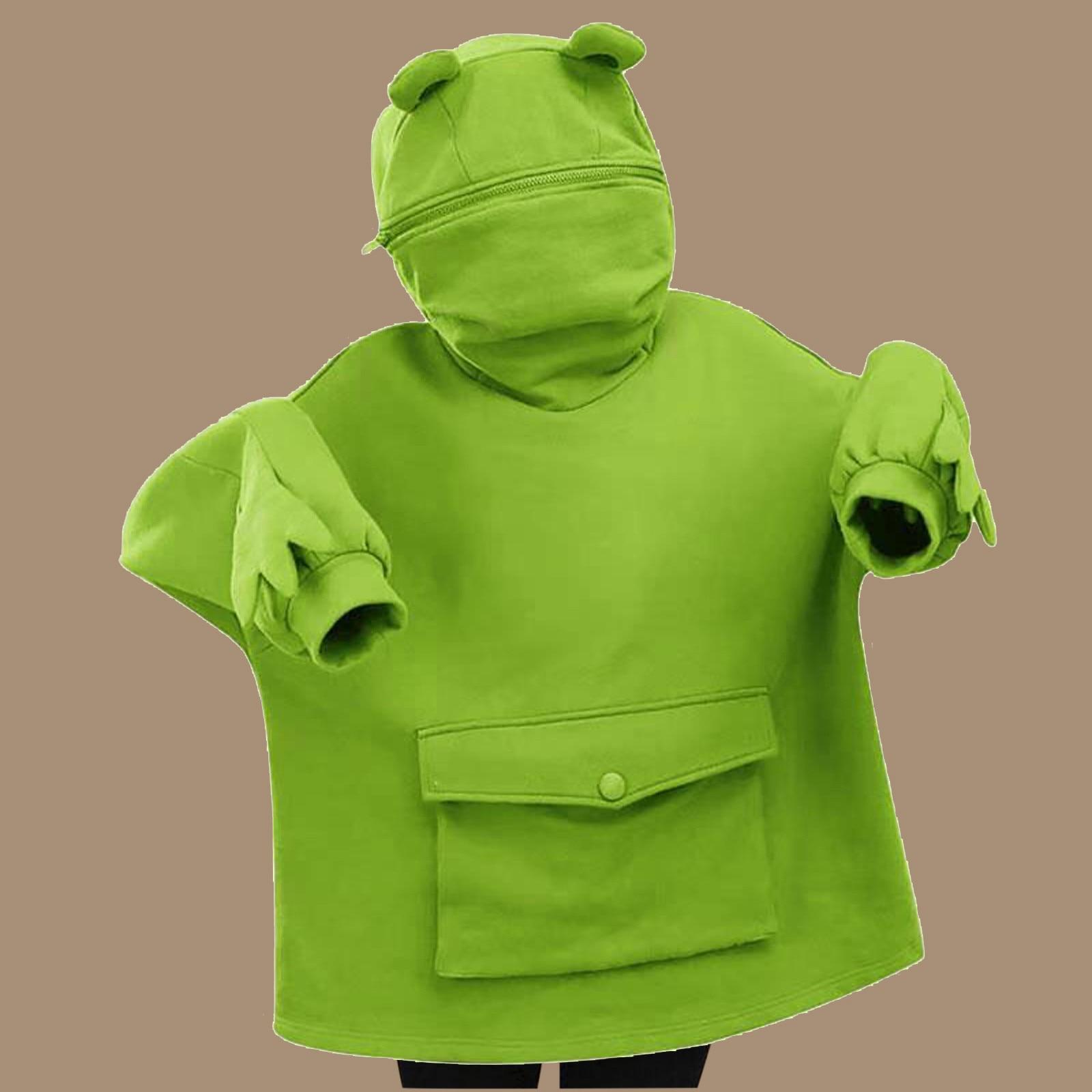 Kawaii Kleidung Sweatshirt Frauen Hoodies Süße Japan Top Kreative Nähte Drei-dimensional Nette Frösche Pullover Tasche Hoodies