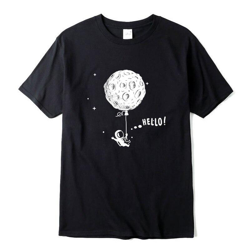 Camiseta de hombre 100% de algodón de manga corta diseño de Vuelo Espacial interesante camisetas de hombres impresas casual o-cuello camiseta suelta hombres camisetas