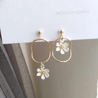 mihan s925 needle new asymmetrical flower earrings 2021 new desing spring style geometric metal drop earrings for girl gifts