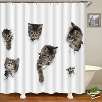 waterproof shower curtain for bathroom funny animals print cat dog lion tiger zebra bath curtain with hooks bathtub curtains