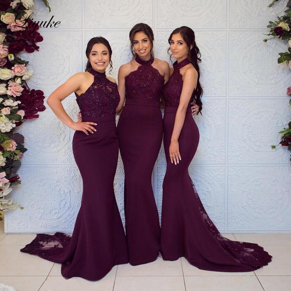 Liyuke Halter Neckline Of Mermaid Bridesmaid Dress Grape Color Sleeveless With Sweep Train