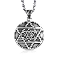 mens star of david necklace stainless steel six point star double sided amulet pendant