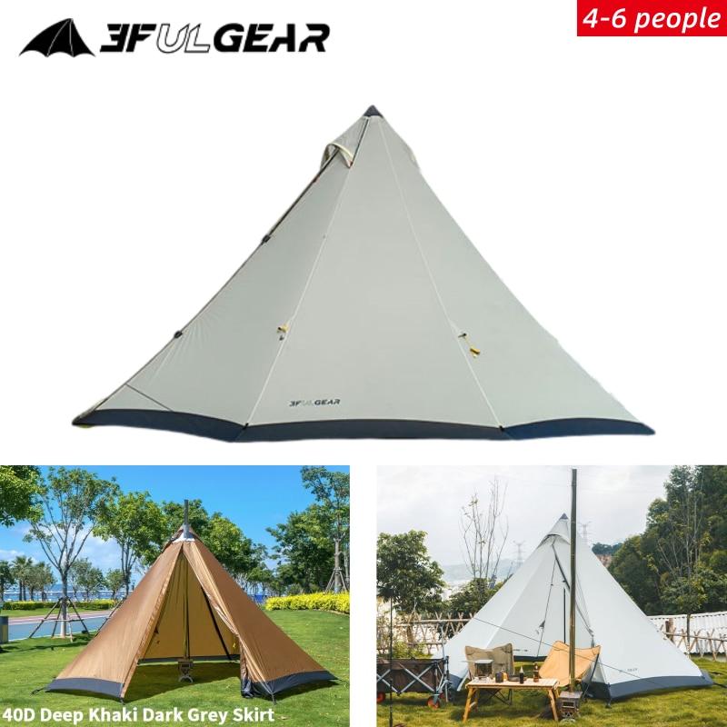 3F UL Getriebe Tribal Zelt Große Raum Pyramide Tipi Zelt Für 4-6 Person Winddicht Camping Zelt Mit Schnee rock Familie Zelt 210T/40D