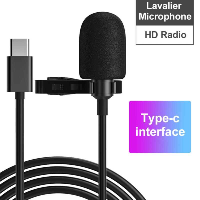 Multifunctional Microphone 3.5mm Jack Lavalier Tie Clip Micro Mini Audio Mic for Computer Laptop Mobile Phone Type-c Interface