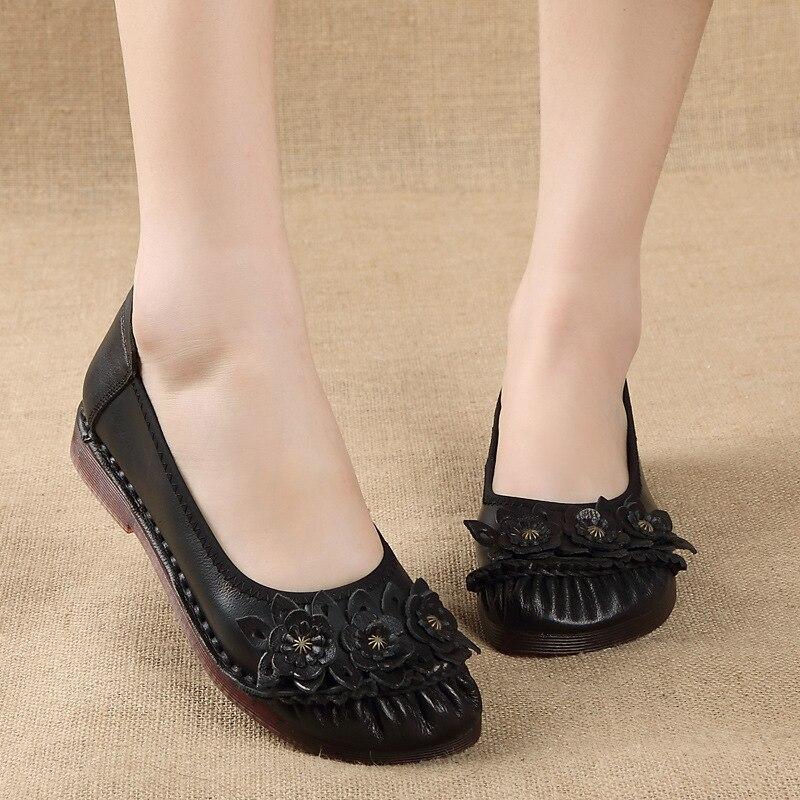 Primavera e no Sapatos de Couro Outono Novo Estilo Étnico Grande Tamanho Sapatos Femininos Confortáveis Sola Macia Único Feminino 2021