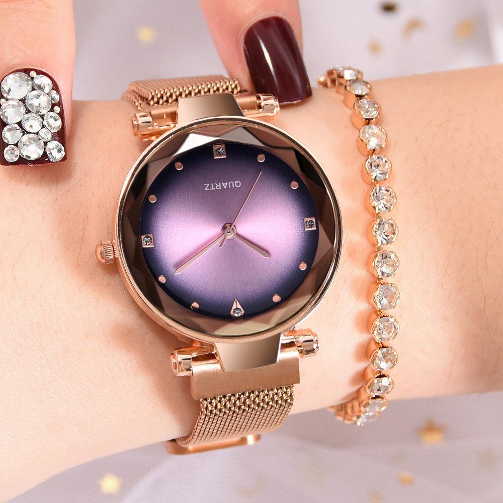 Relojes Starry Sky para mujer, reloj con diamantes de imitación, reloj de lujo para mujer, relojes de cuarzo, reloj de pulsera con hebilla de imán milanés