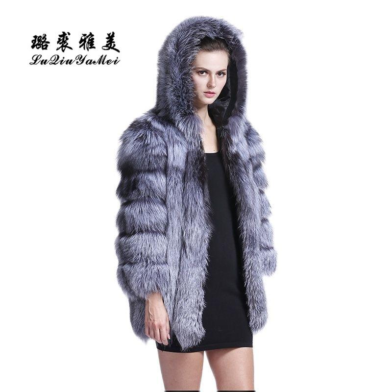 LM 2020 عالية الجودة الثعلب الفراء معطف طويل الثعلب الدافئة النساء معطف الشتاء موضة جلد طبيعي الثعلب الفراء مع هود معطف المرأة