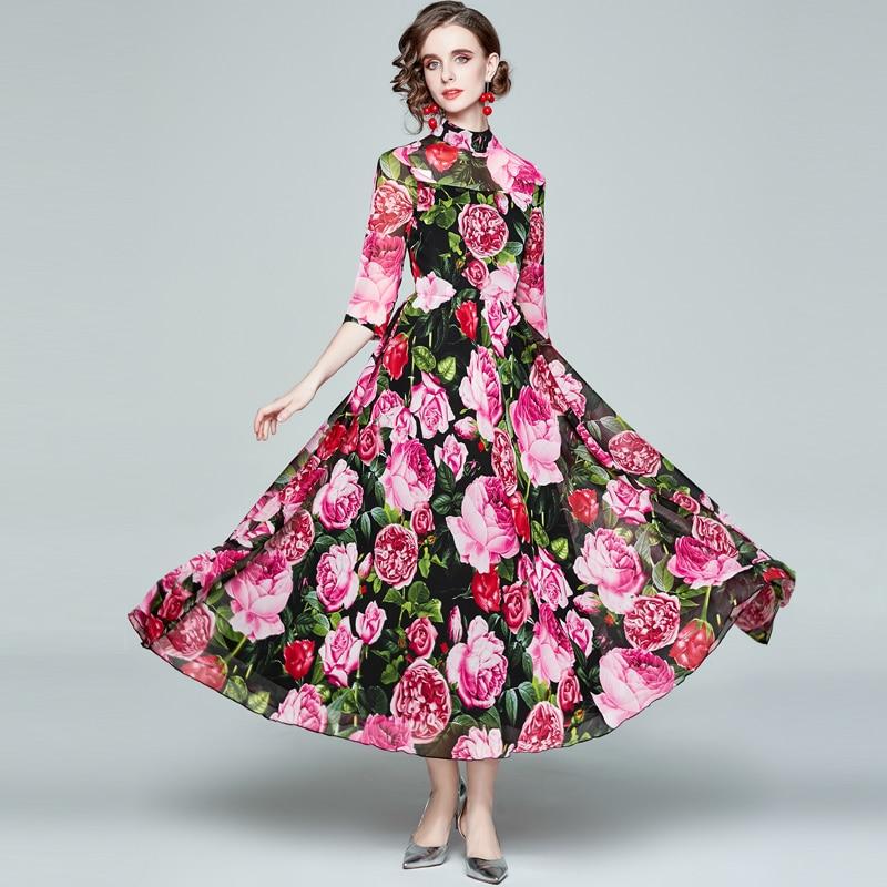 ZUOMAN Women Spring Elegant Floral Dress Festa High Quality Long Maxi Vintage Party Robe Femme Desig