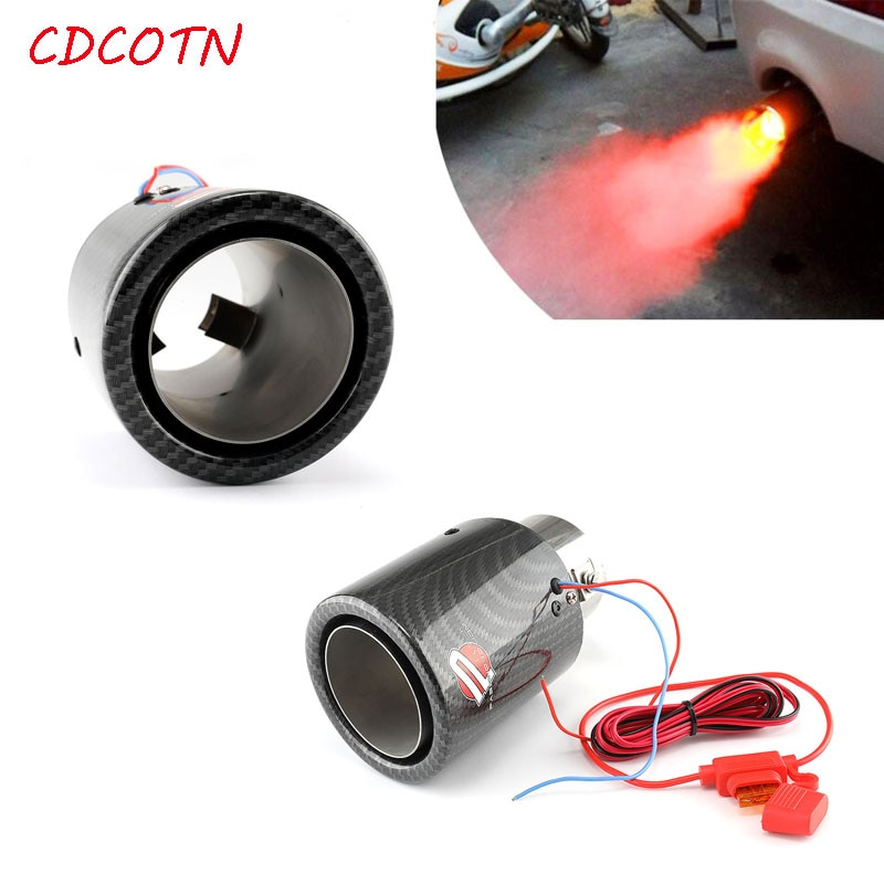1 Uds. Garganta trasera luminosa de fibra de carbono con luces LED resistentes a altas temperaturas garganta trasera con silenciador ligero estilo de coche
