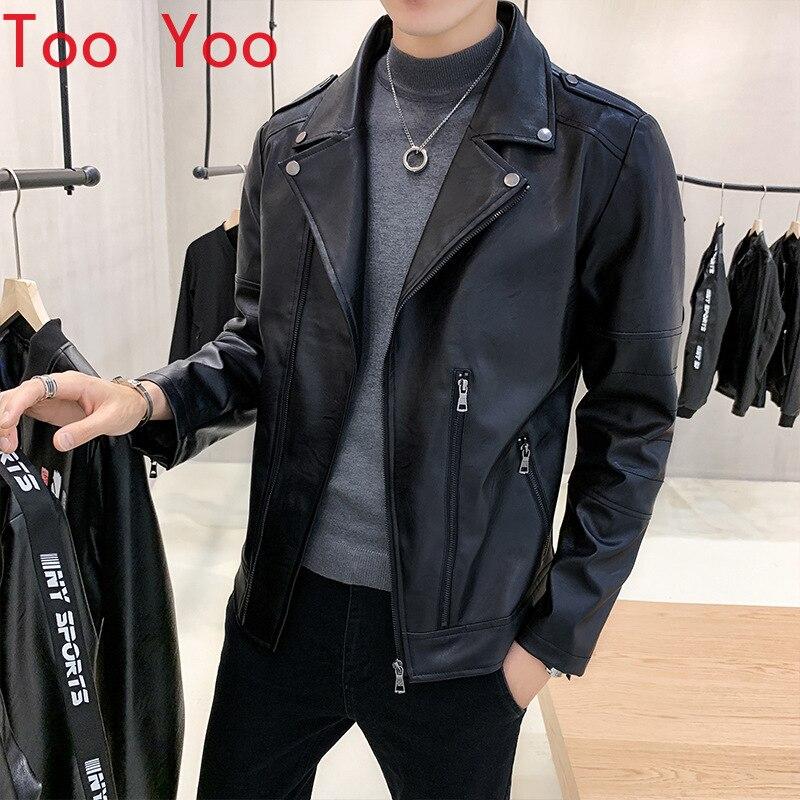 Men's fashion leather jacket 2021 new Korean edition youth motorcycle jacket men's warm fur jacket leather coat men