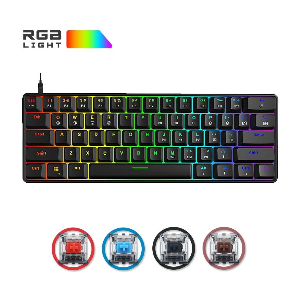 لوحة مفاتيح ميكانيكية SK61 من Skyloong لوحة مفاتيح روسية 61 مفتاح 60% USB سلكية RGB خلفية Gateron مفتاح بصري للحاسوب الشخصي سطح المكتب لعبة كمبيوتر محمول GK61