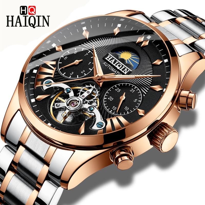 HAIQIN, reloj mecánico automático de lujo para hombres, Reloj clásico de negocios para hombres, Tourbillon, reloj de pulsera resistente al agua para hombres, reloj Masculino