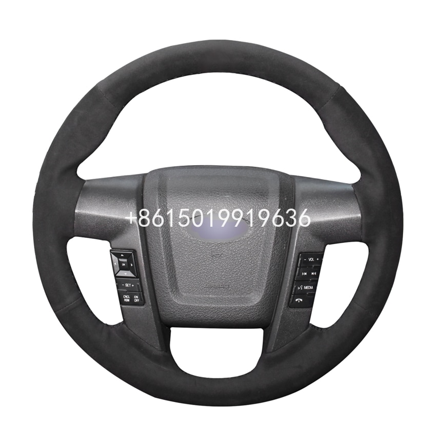 DIY Black Suede Car Steering Wheel Cover for Ford F150 F-150 SVT Raptor 2010-14 Accessories Parts