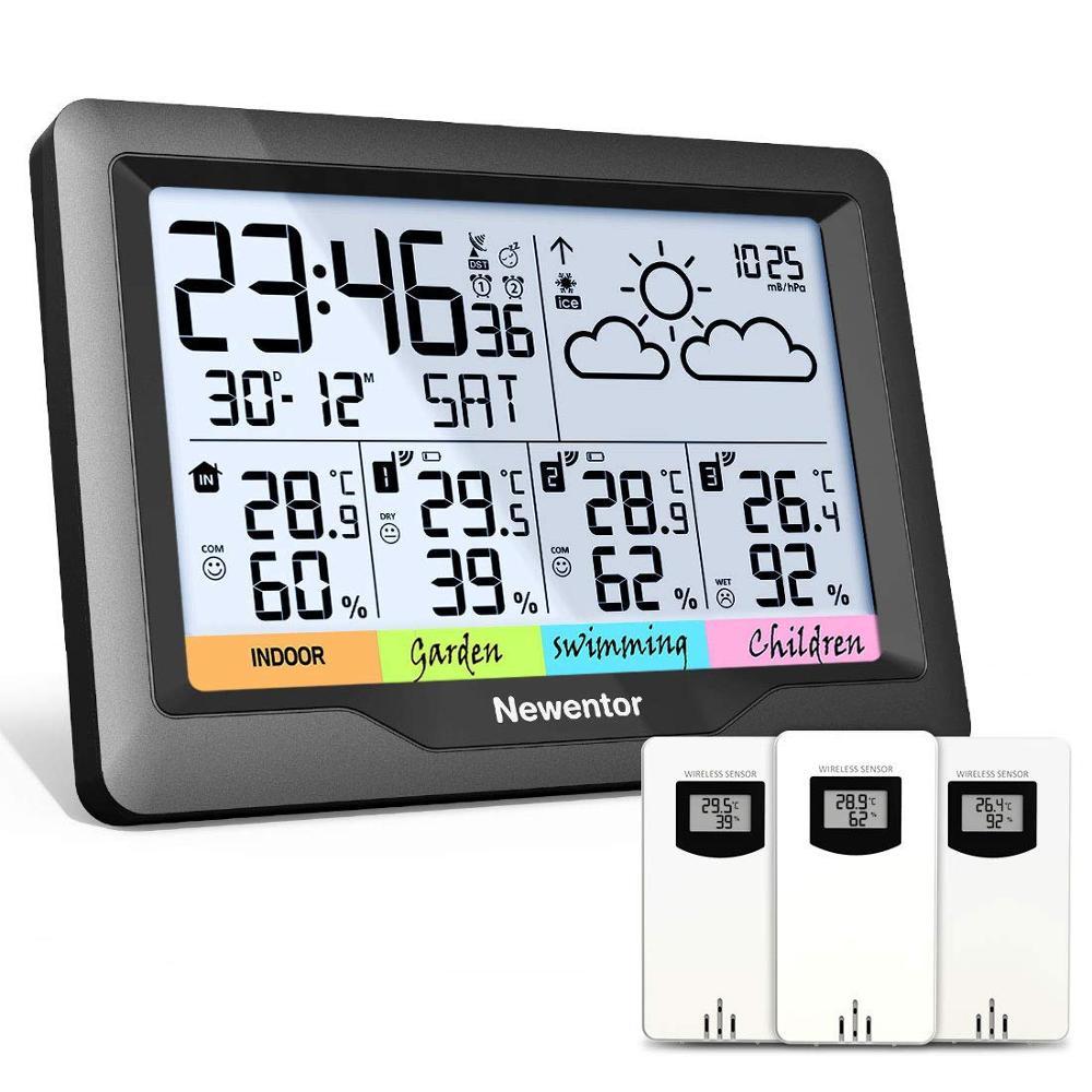 Newentor Q5 محطة الطقس المهنية داخلي في الهواء الطلق توقعات رقمية الرطوبة درجة الحرارة عرض 3 الاستشعار السيارات