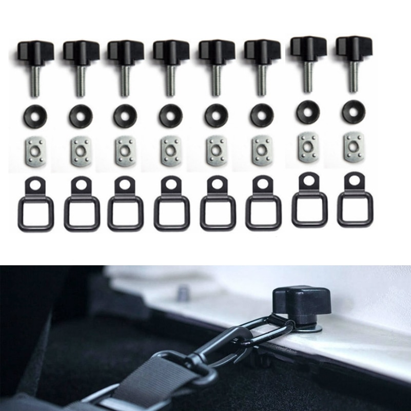 1 Juego de remolque de carga con anillos en D negros atados para Jeep Wrangler, cubierta de red, anillo para jeep TJ YJ JK JL accesorios de coche