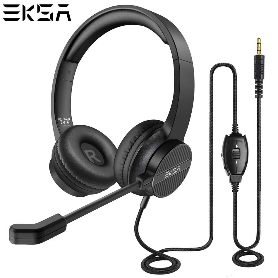 Eksa h12 computador fone de ouvido com microfone em linha controle mudo para call center skype classe em linha pc celular