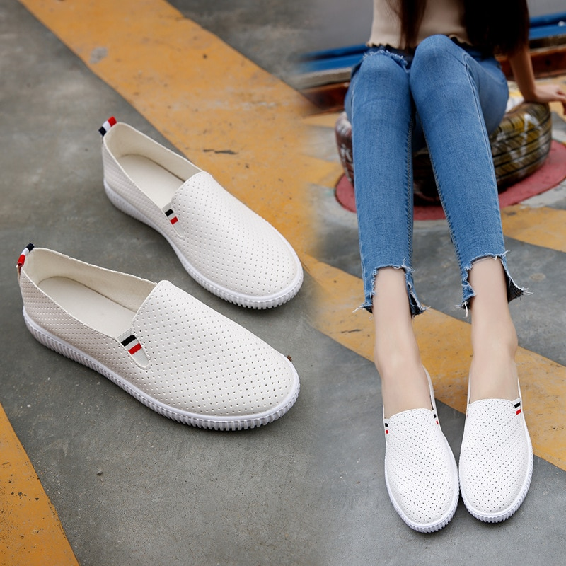 weideng new autumn solid color genuine leather platform breathable leisure white and black comfortable 2017 loafers women shoes New Mesh Slip-on Shallow Women Solid PU Leather Shoes Summer Autumn Comfortable Breathable Simple Solid Platform Shoes