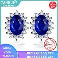yanhui luxury lab sapphire earrings original 925 sterling silver jewelry with blue zirconia gemstone stud earrings for women
