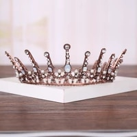 vintage queen wedding crown headdress rhinestone crystal crown bridal headdress round crown tiara wedding hair accessories crown
