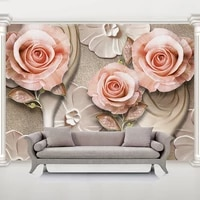 custom mural wallpaper 3d relief rose flowers wall paper living room tv bedroom background wall decor papel de parede sala 3 d