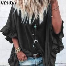 VONDA Women Tops Casual Lapel Neck Buttons Half Sleeve Ruffle Blouse Sexy Tunic Office Ladies Shirts Plus Size Blusas S-5XL
