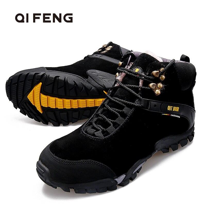 Venda quente couro genuíno caminhadas sapatos de inverno quente botas de pele das mulheres ao ar livre botas de caça trekking e sapatos de montanha