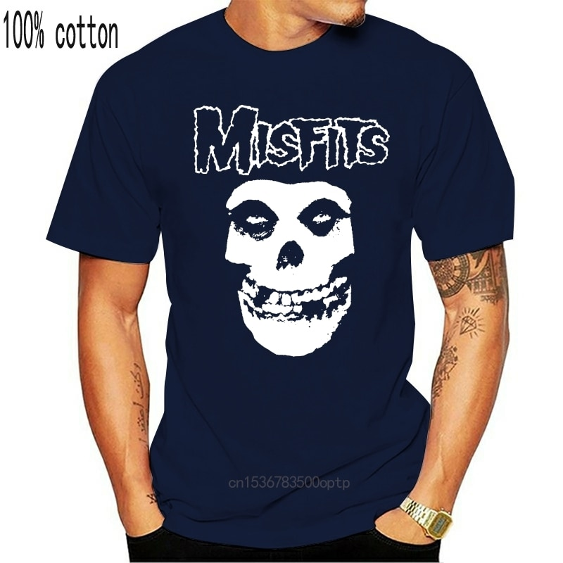 Die Misfits Schädel Psychobilly Horror Punk Goth S 2Xl Herren Schwarz T Shirt Kurzarm Druck Buchstaben 033311