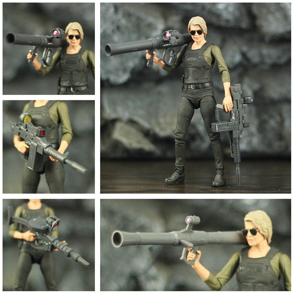 """Terminator destino escuro sarah connor 7 """"figura de ação lançador foguete máquina arma original neca T-800 série brinquedos colecionáveis boneca"""