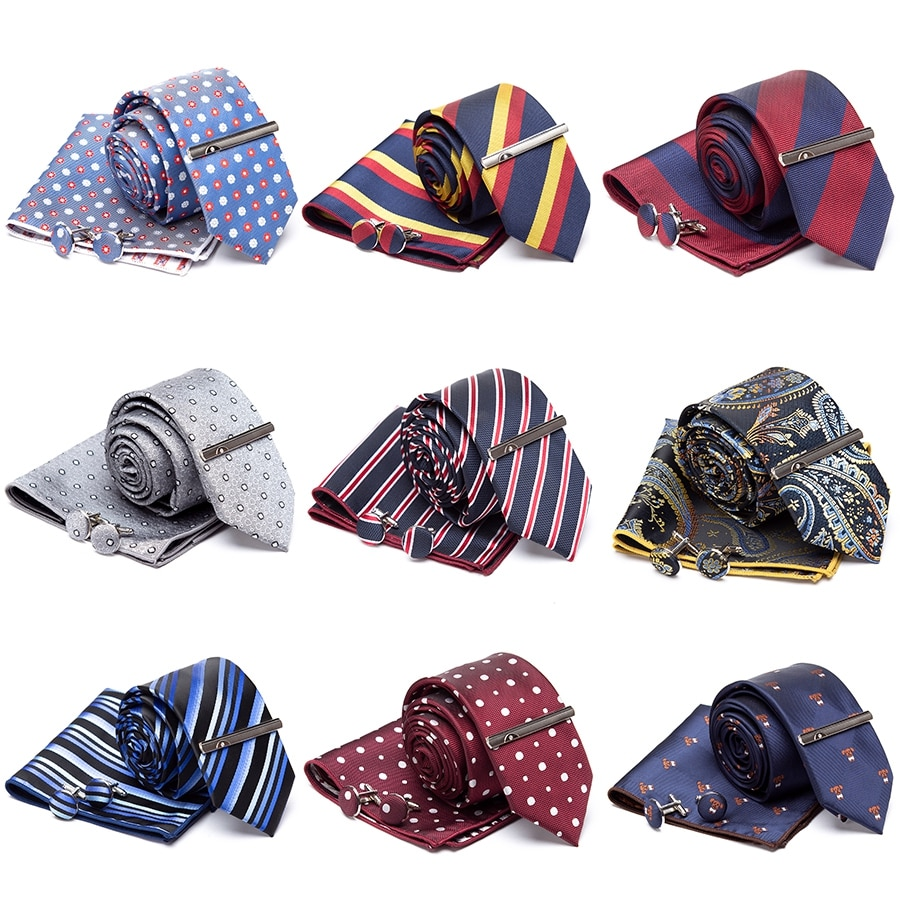 Men Tie Cravat Cufflinks Set Striped Fashion Jacquard Ties for Men Party Man Classic Business Necktie Gift Wedding Accessories недорого