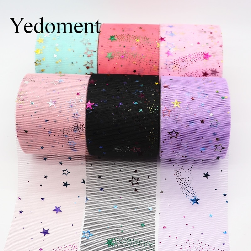 25 yardas/rollo 6cm arcoíris de papel estrellas rollo de tul Organza tela de tul Baby Shower Party suministros DIY lazos para el cabello materiales hechos a mano
