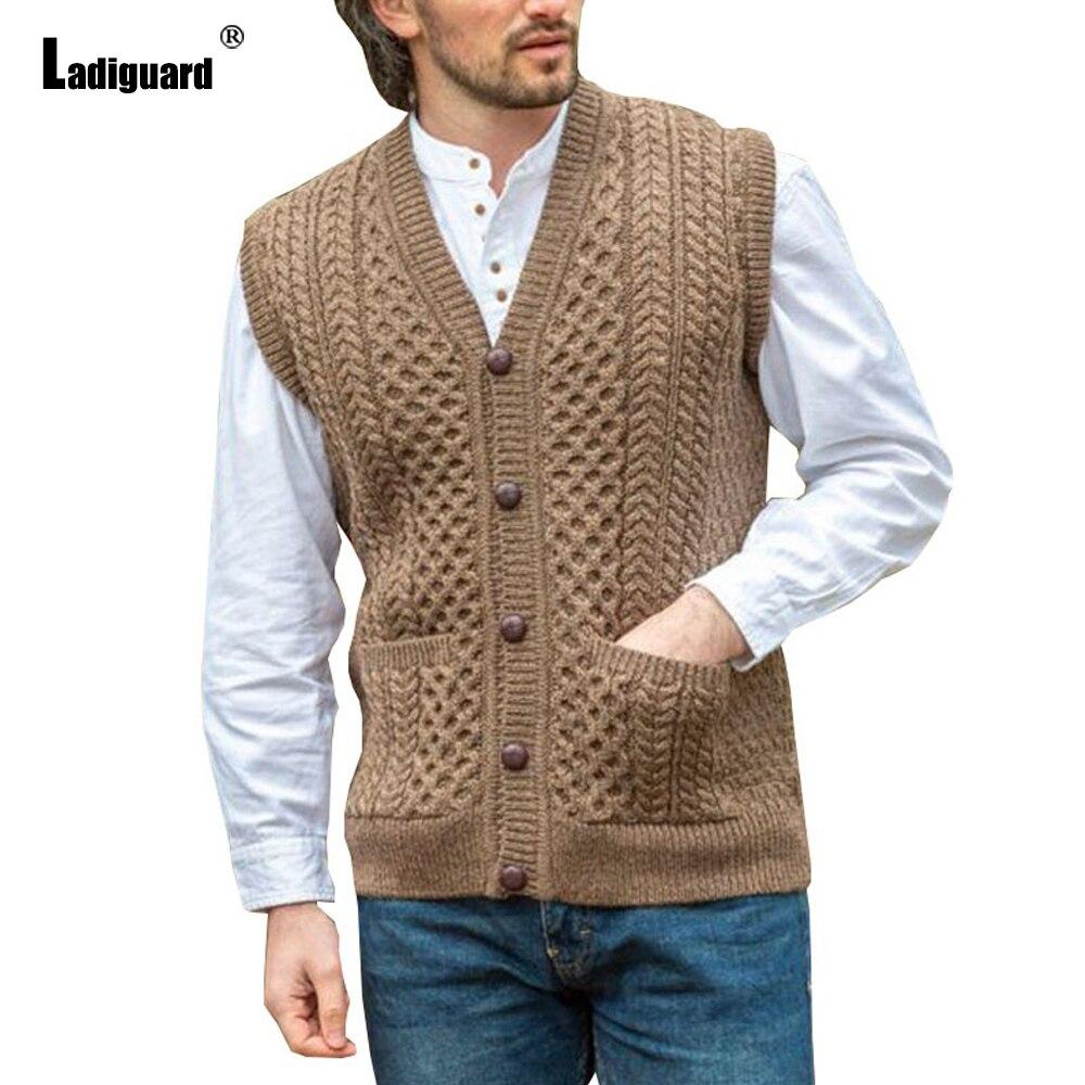 Ladiguard 2021 pojedyncze łuszcz Top swobodny sweter Plus rozmiar 4xl mężczyźni kamizelka bez rękawów swetry rozpinane jesień zima sweter z dzianiny
