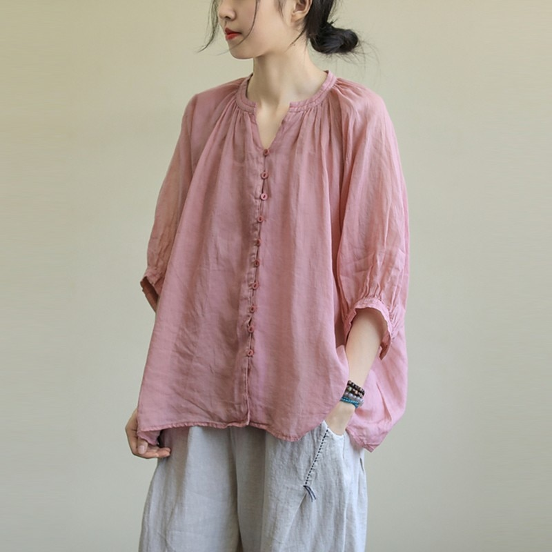 Oversized Cotton Linen Women Shirt New 2020 Summer Simple Style Solid Color Half Sleeve Female Loose Casual Tops Shirts P1400