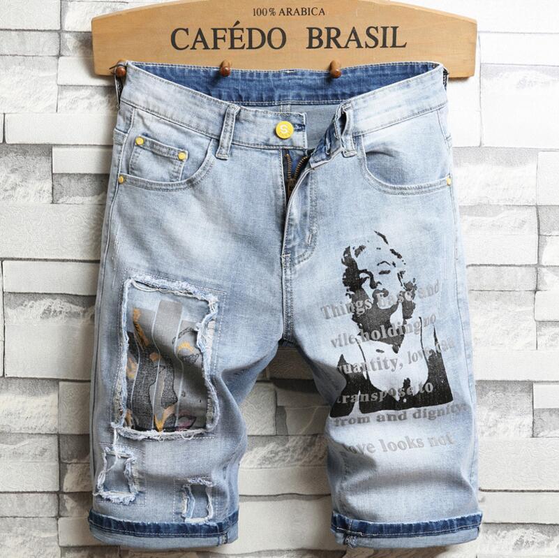 Мужские джинсовые шорты с дырками, светло-синие джинсовые шорты, хорошее качество, мужские облегающие тонкие повседневные джинсы, эластичн...