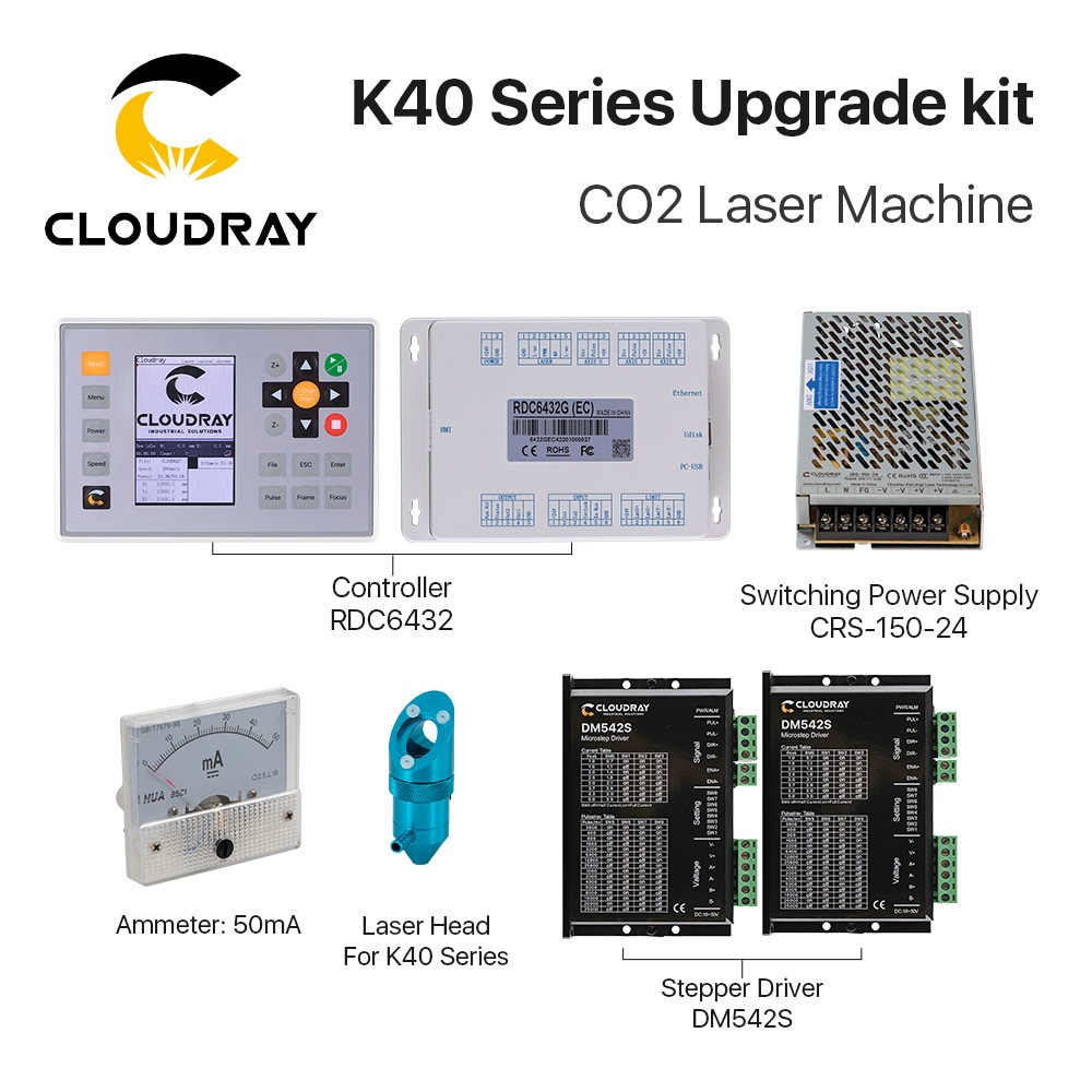 Cloudray-مجموعة ترقية من سلسلة K40 لآلة النقش بالليزر الصغيرة CO2 ، وحدة تحكم ليزر Ruida RDC6432 CO2 ، محرك متدرج DM542S