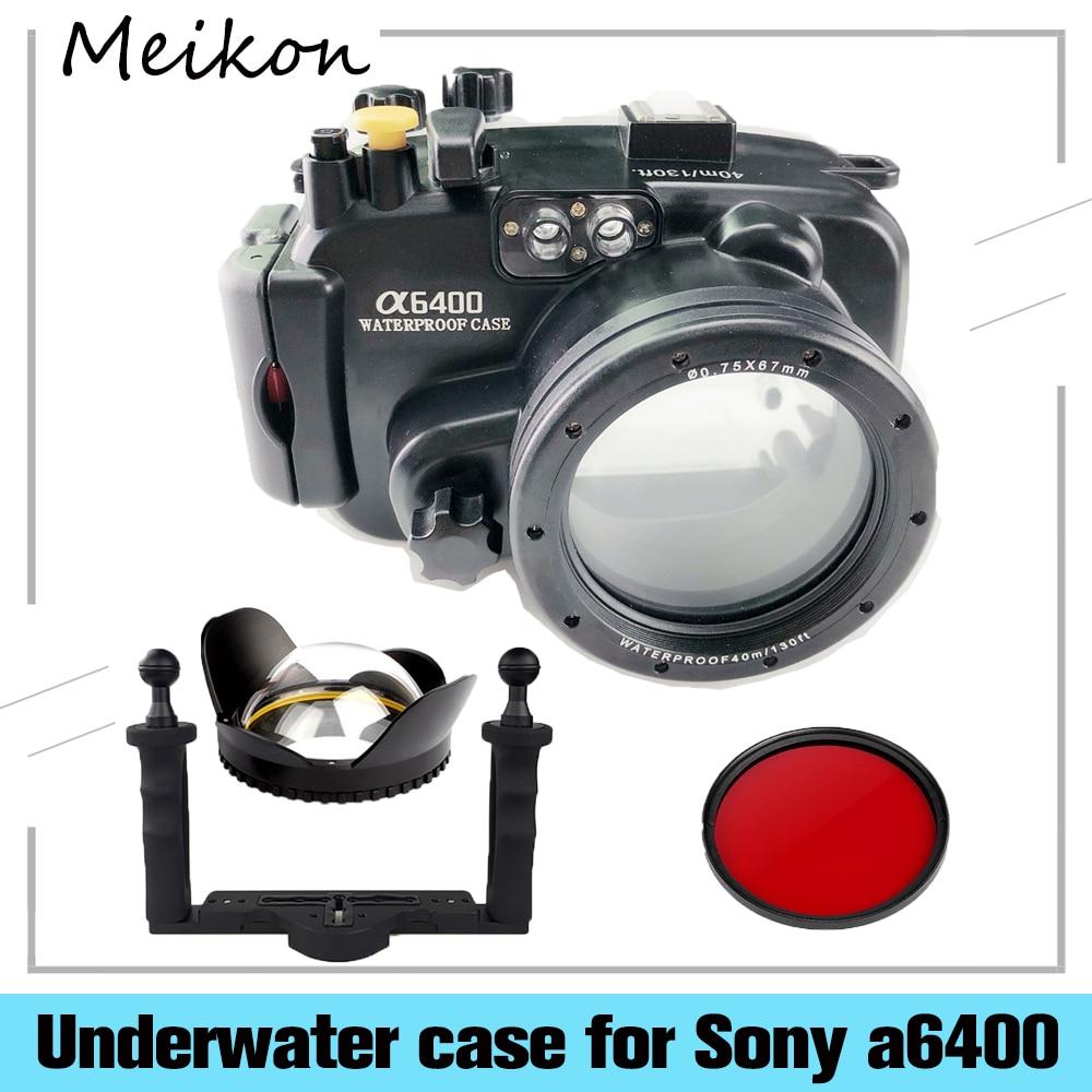 Case para Sony Lente com Fisheye Meikon Impermeável Câmera Subaquática Habitação A6400 Suporte 16-50mm Mãos 130ft – 40m