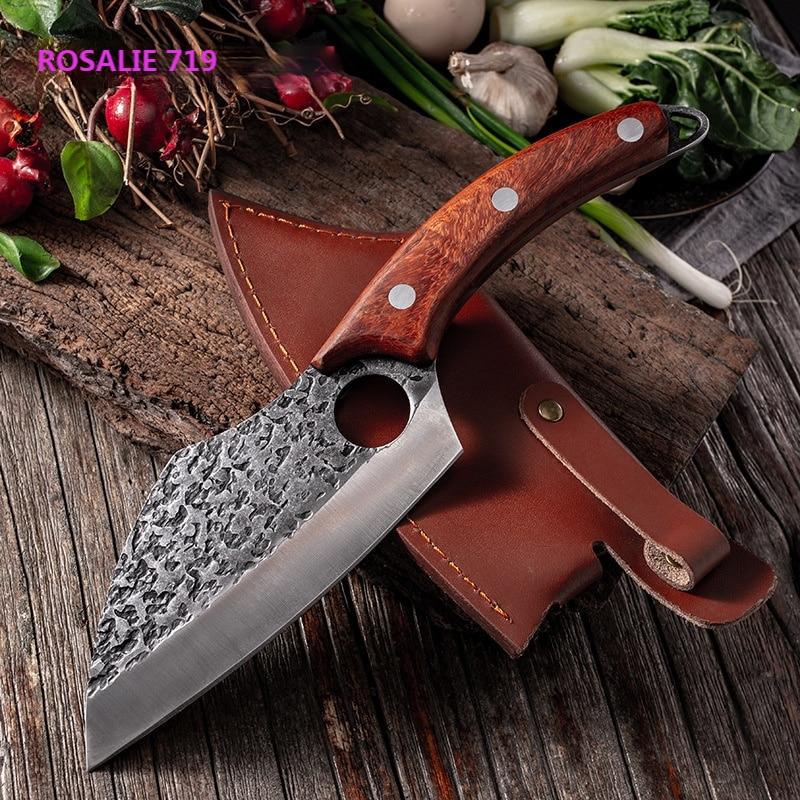 الفولاذ المقاوم للصدأ مطرقة من الفولاذ نمط سكين الطاهي جزار اللحوم سكين نزع العظم مع مقبض خشب متين المطبخ قطع أدوات الطبخ