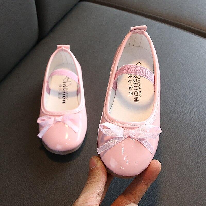 2019 bogen Kinder Schuhe Mädchen Rosa Infant Schuhe Prinzessin Hochzeit Party Mädchen Leder Kleinkind Kleid Kinder Schuhe 1 2 3 4 5 6 jahr